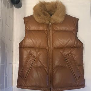 Ralph Lauren Brown Lambskin Down Vest
